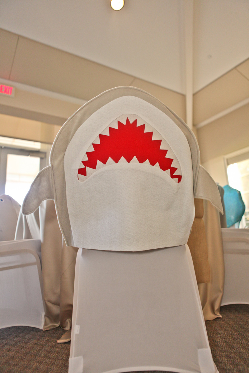Whimsical Shark Chair Cover for Kids Table | The Majestic Vision Wedding Planning | Palm Beach Shores in Palm Beach, FL | www.themajesticvision.com | Krystal Zaskey Photography