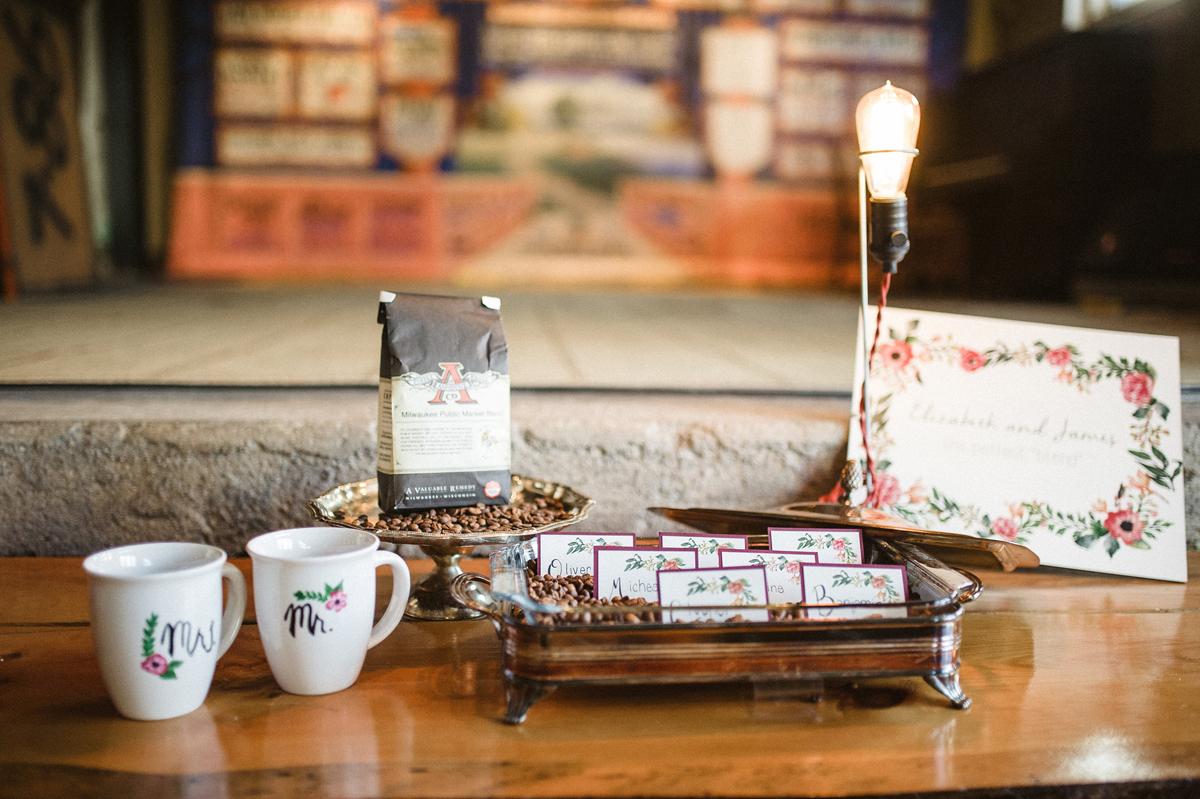 Elegant Coffee Shop Wedding Escort Cards | The Majestic Vision Wedding Planning | Anodyne Coffee in Milwaukee, WI | www.themajesticvision.com | Elizabeth Haase Photography