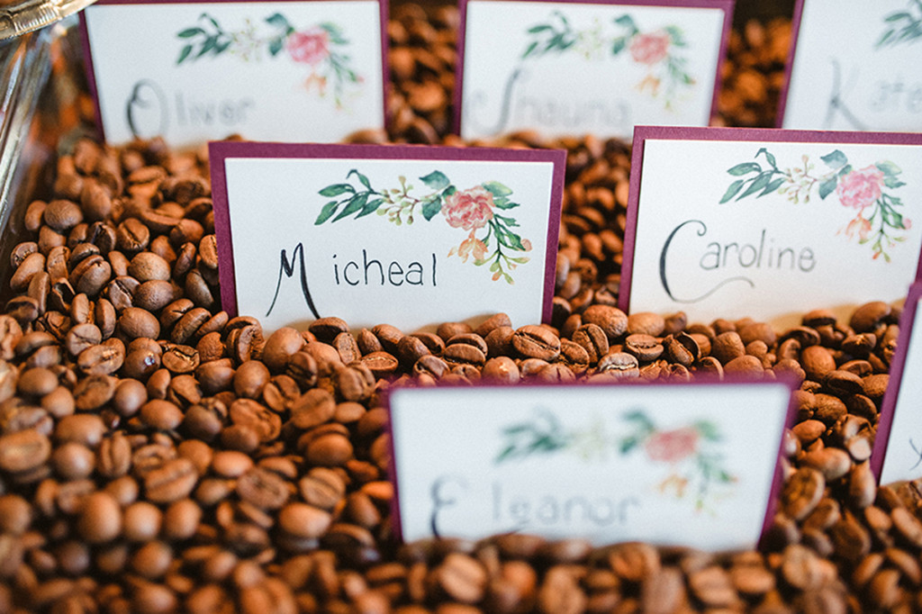 Elegant Coffee Shop Wedding Escort Cards | The Majestic Vision Wedding Planning | Anodyne Coffee in Milwaukee, WI | www.themajesticvision.com | Elizabeth Haase Photography