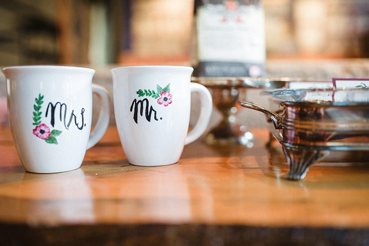 Elegant Coffee Shop Wedding Personalized Coffee Mugs | The Majestic Vision Wedding Planning | Anodyne Coffee in Milwaukee, WI | www.themajesticvision.com | Elizabeth Haase Photography