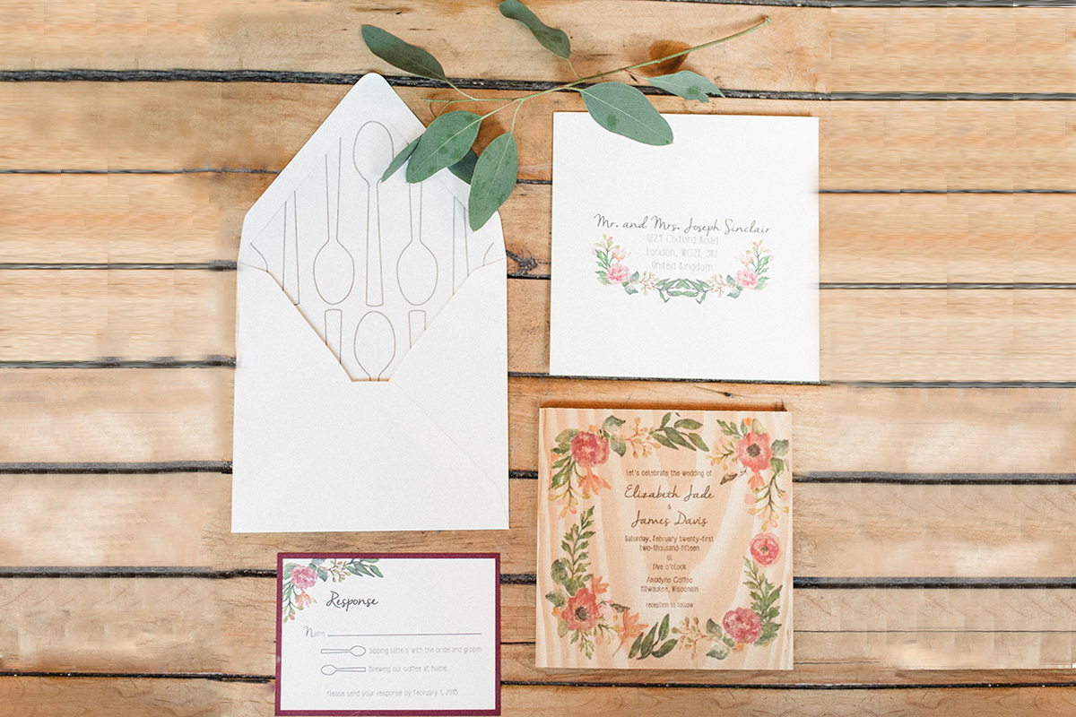 Elegant Coffee Shop Wedding Invitation Suite | The Majestic Vision Wedding Planning | Anodyne Coffee in Milwaukee, WI | www.themajesticvision.com | Elizabeth Haase Photography