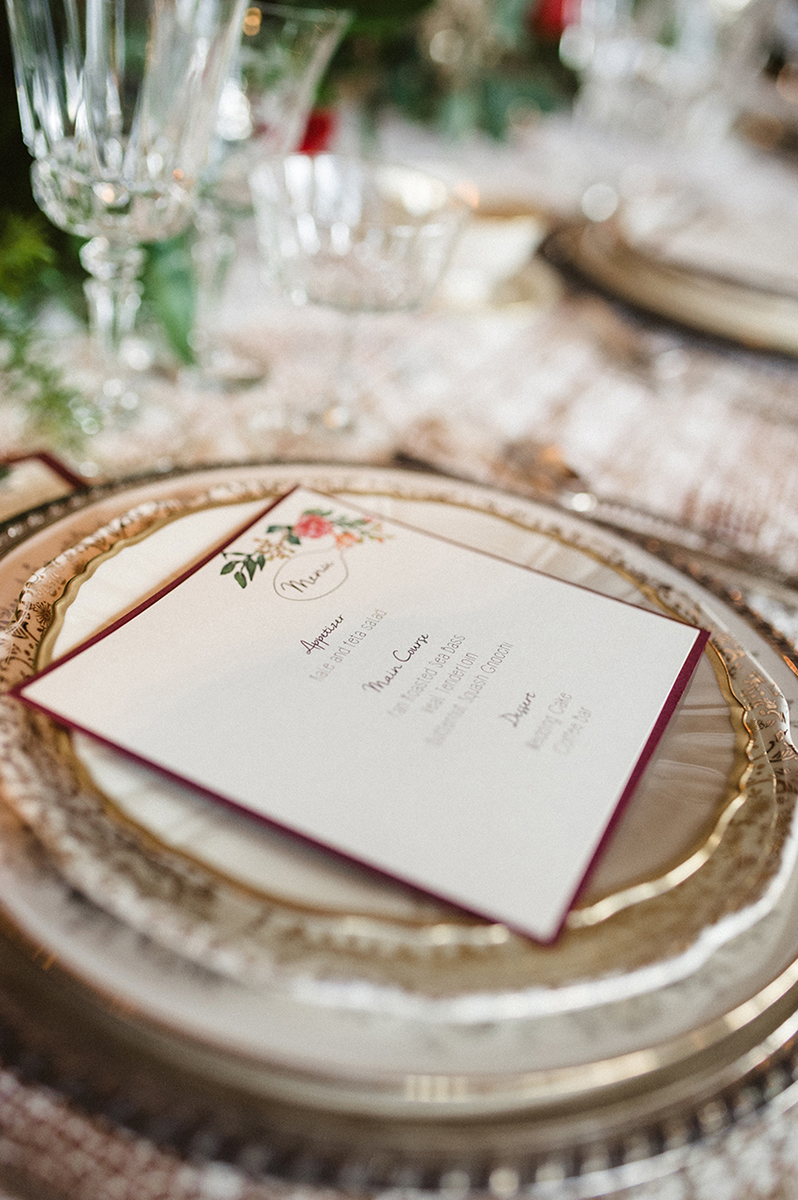 Elegant Vintage Marsala Menu Card | The Majestic Vision Wedding Planning | Anodyne Coffee in Milwaukee, WI | www.themajesticvision.com | Elizabeth Haase Photography