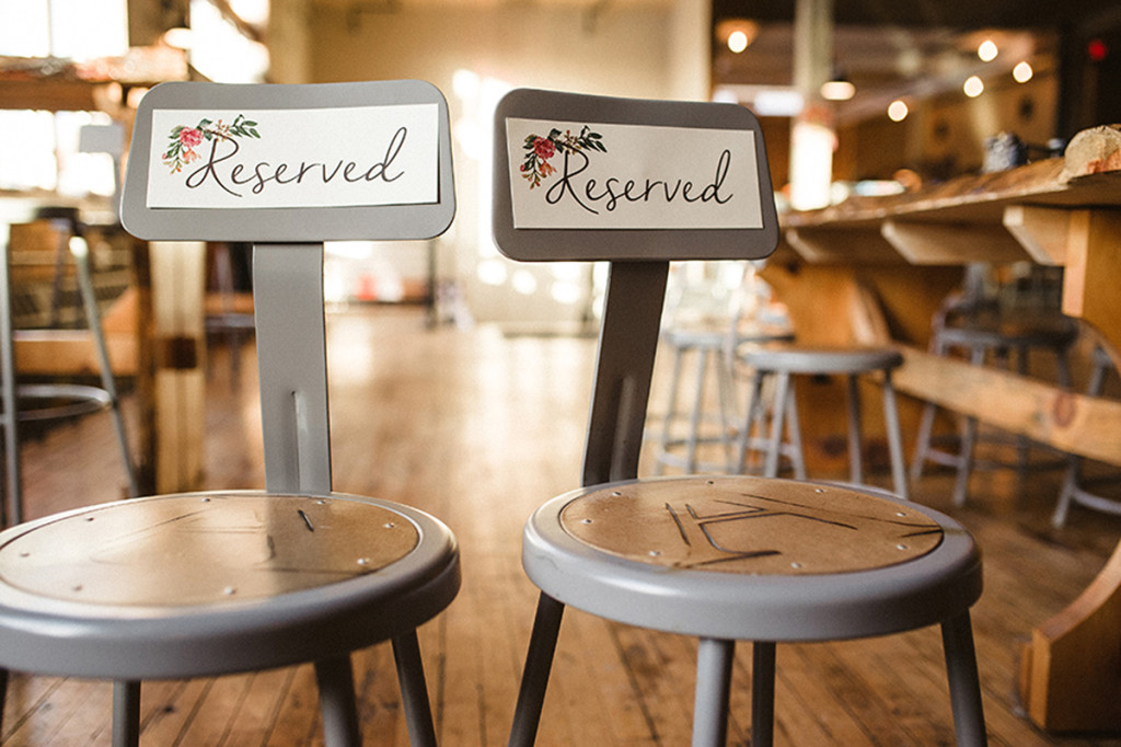 Elegant Vintage Marsala Reserved Chair Sign | The Majestic Vision Wedding Planning | Anodyne Coffee in Milwaukee, WI | www.themajesticvision.com | Elizabeth Haase Photography