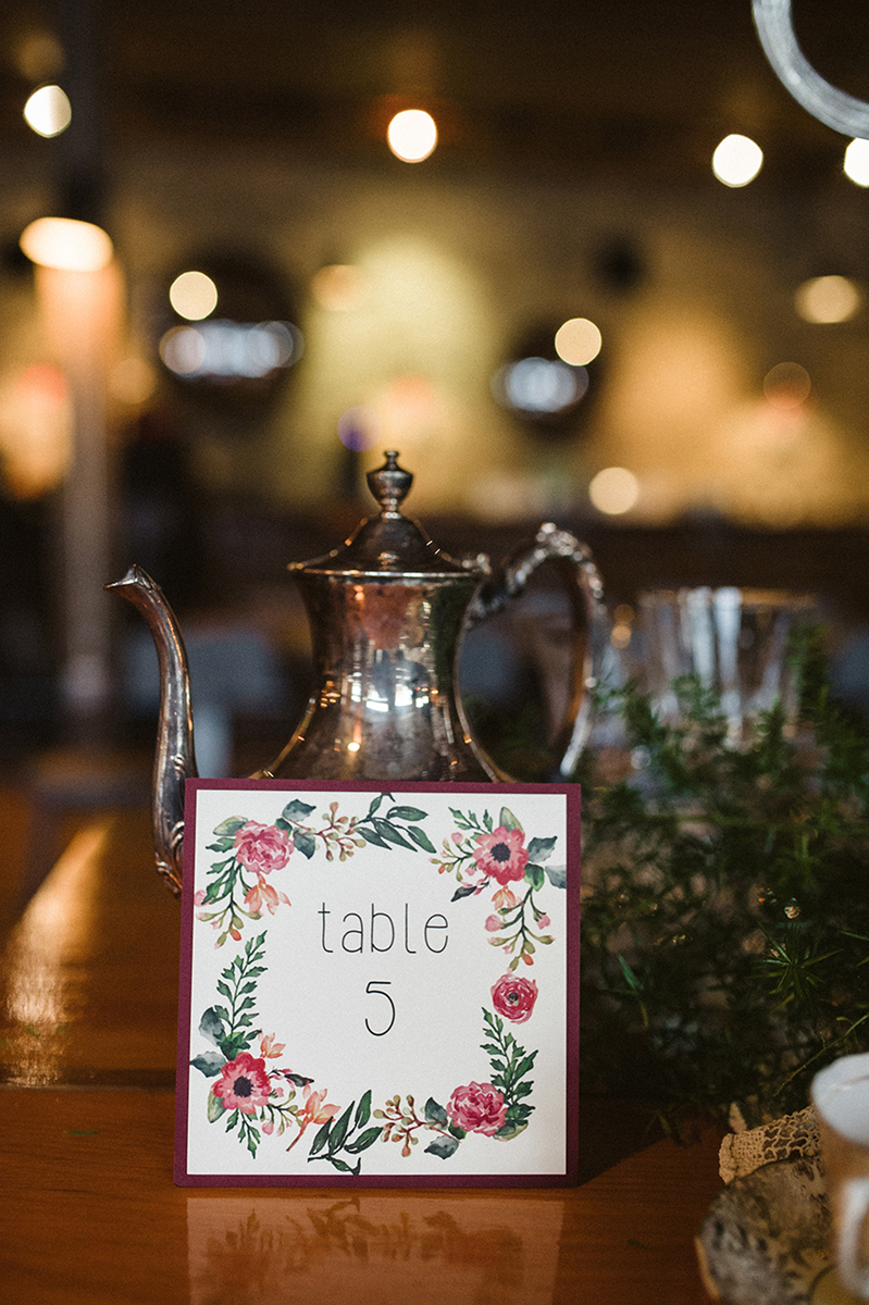 Elegant Vintage Marsala Table Number | The Majestic Vision Wedding Planning | Anodyne Coffee in Milwaukee, WI | www.themajesticvision.com | Elizabeth Haase Photography
