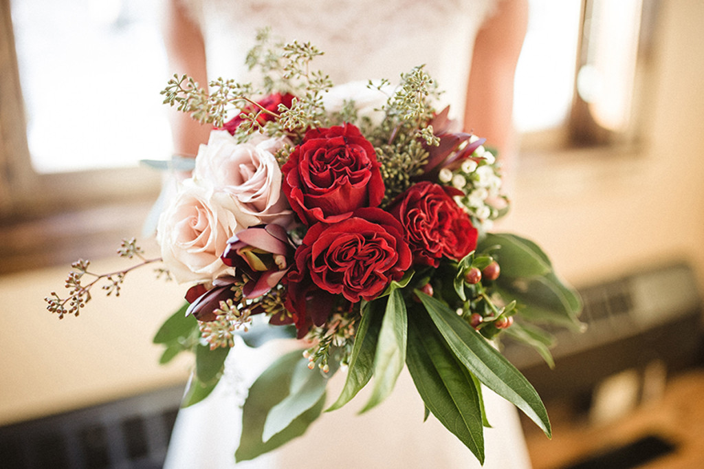 Elegant Marsala Bridal Bouquet with Roses and Dahlias | The Majestic Vision Wedding Planning | Anodyne Coffee in Milwaukee, WI | www.themajesticvision.com | Elizabeth Haase Photography