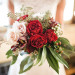 Elegant Marsala Bridal Bouquet with Roses and Dahlias at Anodyne Coffee in Milwaukee, WI thumbnail