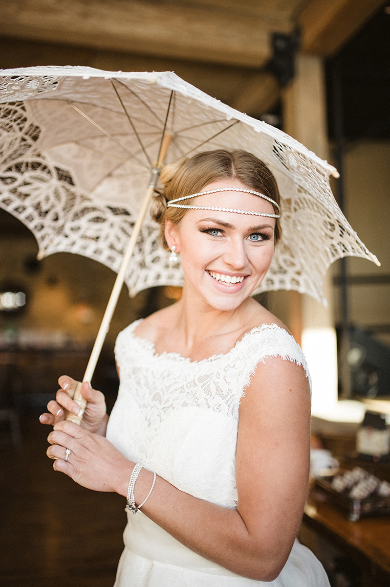 Stunning Bride in Mikaella Gown with Vintage Parasol | The Majestic Vision Wedding Planning | Anodyne Coffee in Milwaukee, WI | www.themajesticvision.com | Elizabeth Haase Photography