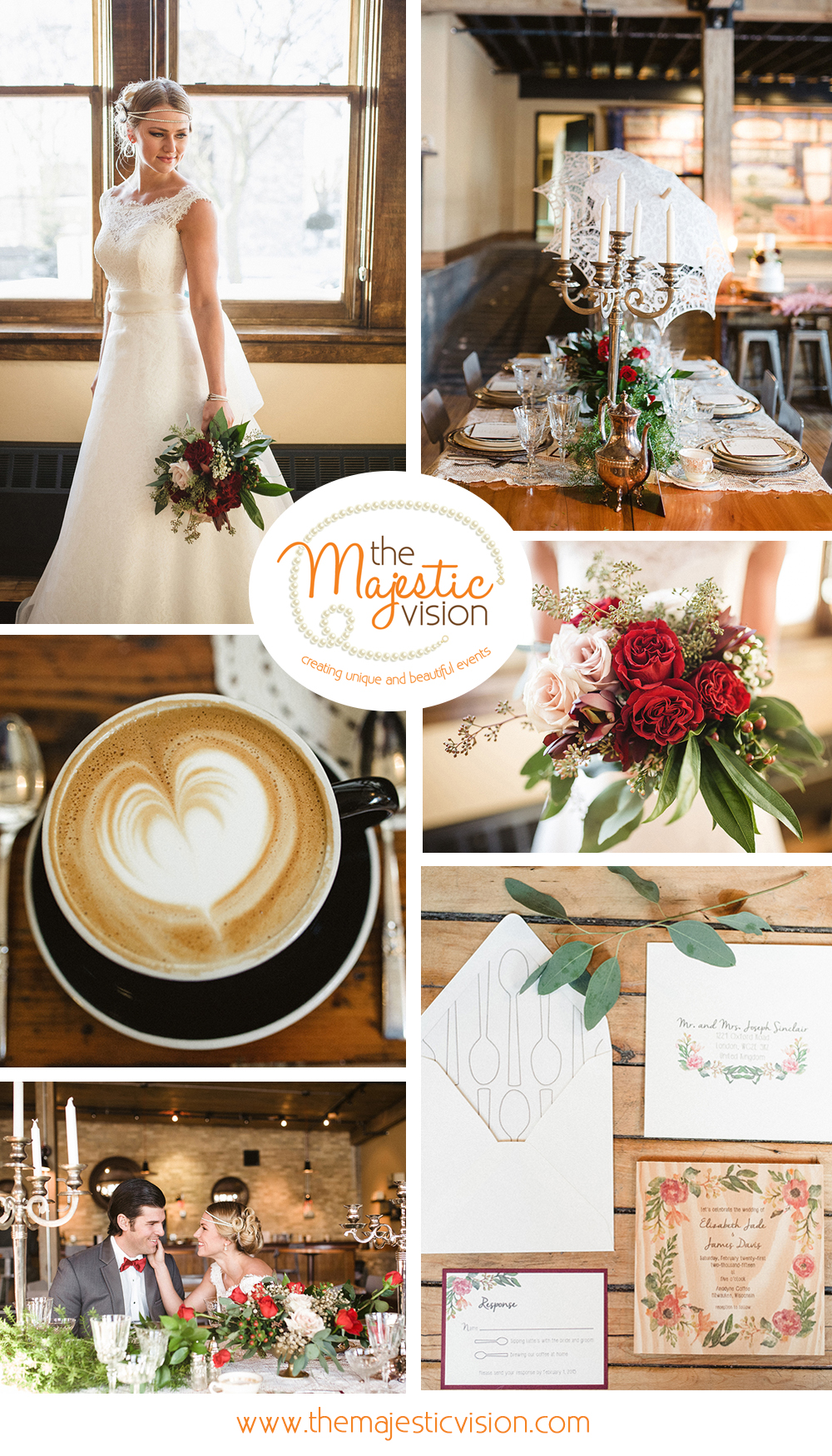 Elegant Marsala Coffee Shop Wedding | The Majestic Vision Wedding Planning | Anodyne Coffee in Milwaukee, WI | www.themajesticvision.com | Elizabeth Haase Photography