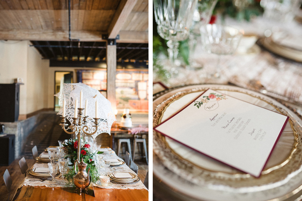 Elegant Vintage Marsala Tablescape | The Majestic Vision Wedding Planning | Anodyne Coffee in Milwaukee, WI | www.themajesticvision.com | Elizabeth Haase Photography