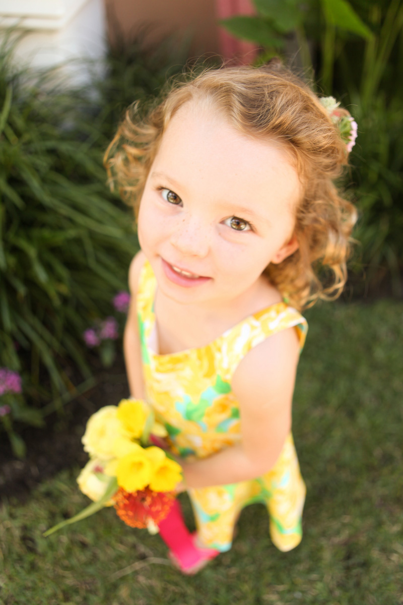 Adorable Flower Girl in Sunglow First Impression Lilly Pulitzer Dress | The Majestic Vision Wedding Planning | The Colony Hotel in Palm Beach, FL | www.themajesticvision.com | Krystal Zaskey Photography