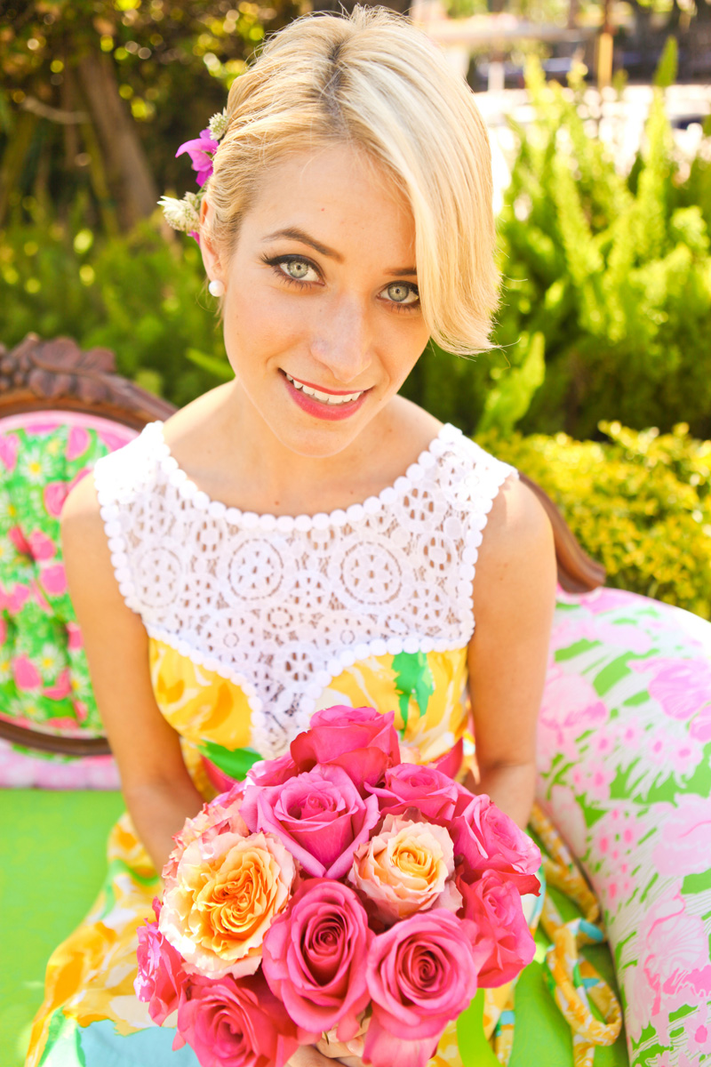 Stunning Bridesmaid in Sunglow First Impression Lilly Pulitzer Raegan Fit and Flare Dress | The Majestic Vision Wedding Planning | The Colony Hotel in Palm Beach, FL | www.themajesticvision.com | Krystal Zaskey Photography