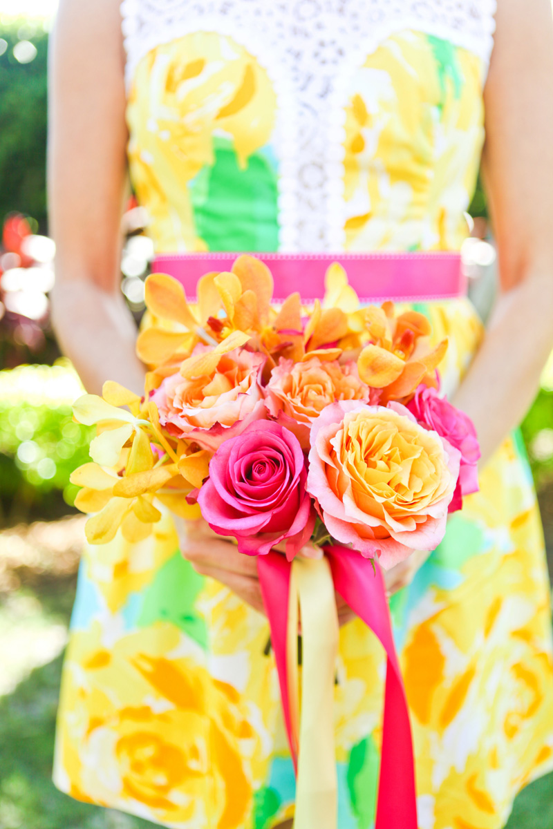 Elegant Lilly Pulitzer Inspired Bridesmaid Bouquet with Orange, Yellow and Pink Flowers | The Majestic Vision Wedding Planning | The Colony Hotel in Palm Beach, FL | www.themajesticvision.com | Krystal Zaskey Photography