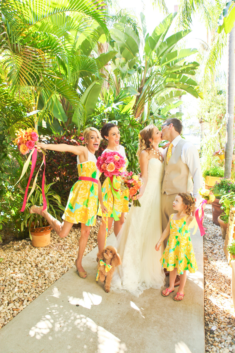 Elegant Bridal Party in Sunglow First Impression Lilly Pulitzer Dresses | The Majestic Vision Wedding Planning | The Colony Hotel in Palm Beach, FL | www.themajesticvision.com | Krystal Zaskey Photography