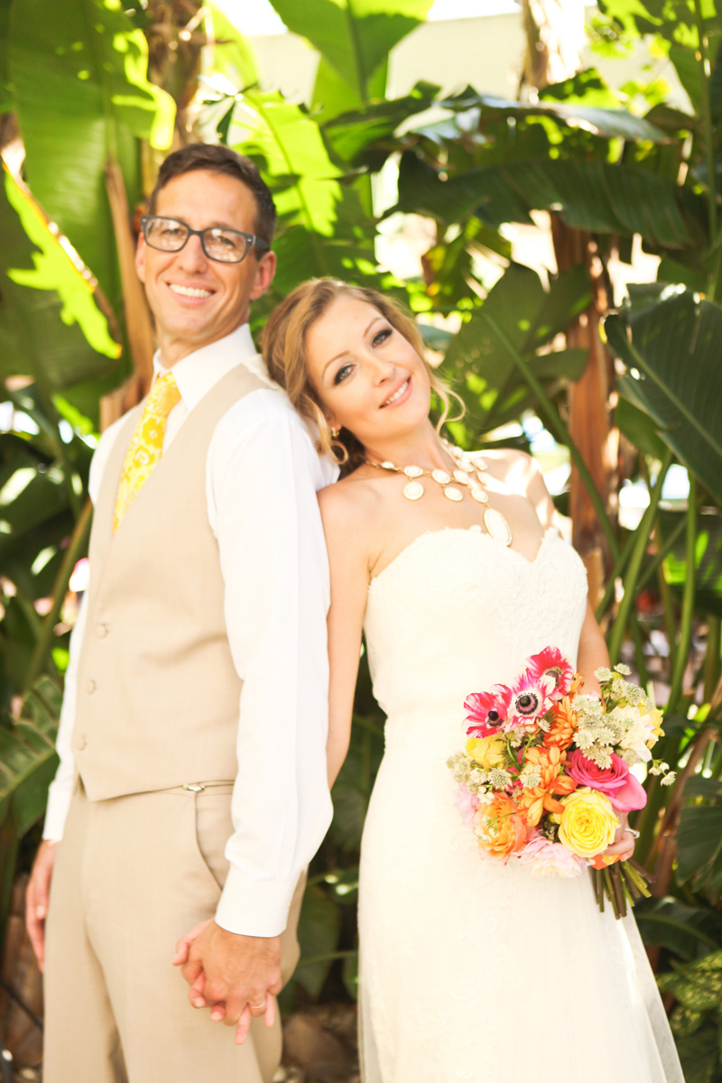 Stunning Bridal Portrait with Elegant Lilly Pulitzer Inspired Bridal Bouquet with Orange, Yellow and Pink Flowers | The Majestic Vision Wedding Planning | The Colony Hotel in Palm Beach, FL | www.themajesticvision.com | Krystal Zaskey Photography