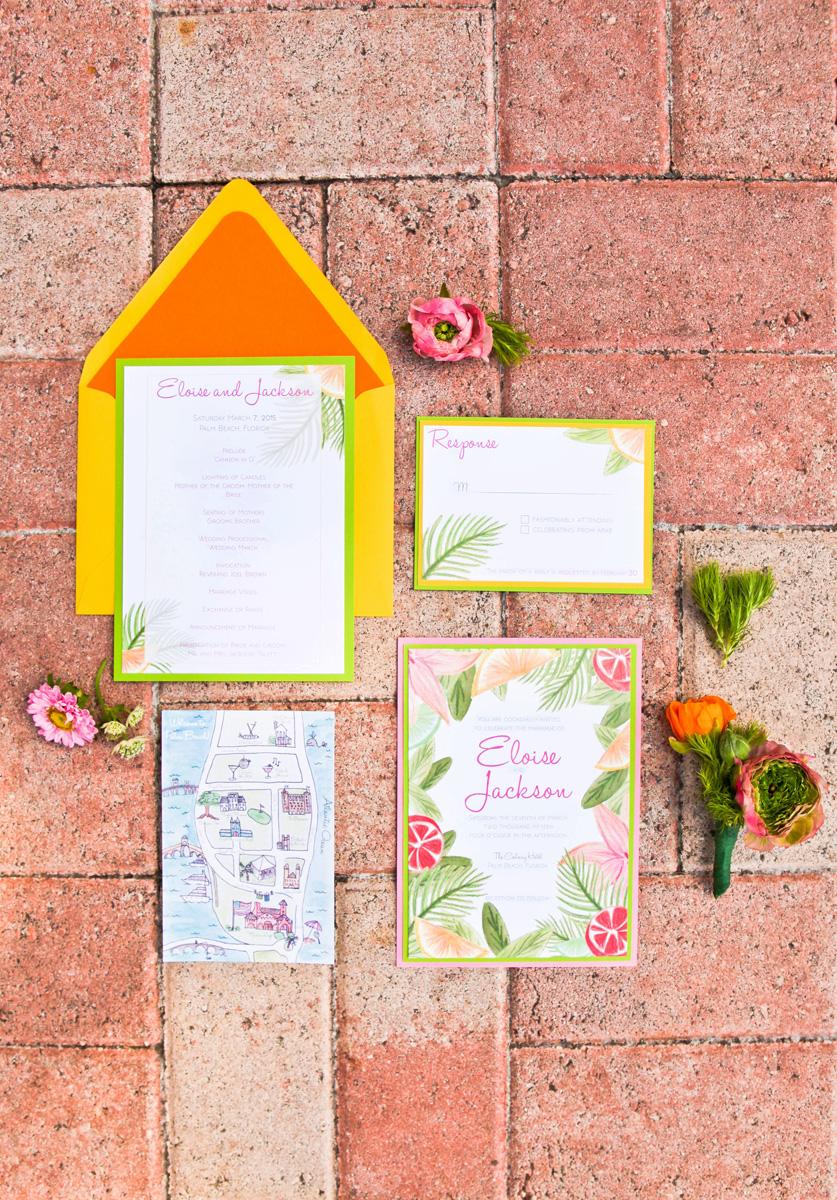 Elegant Lilly Pulitzer Inspired Palm Tree Wedding Invitation | The Majestic Vision Wedding Planning | The Colony Hotel in Palm Beach, FL | www.themajesticvision.com | Krystal Zaskey Photography