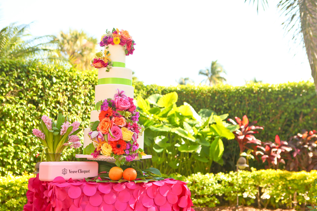 Elegant Lilly Pulitzer Inspired Wedding Cake with Orange, Yellow and Pink Flowers | The Majestic Vision Wedding Planning | The Colony Hotel in Palm Beach, FL | www.themajesticvision.com | Krystal Zaskey Photography