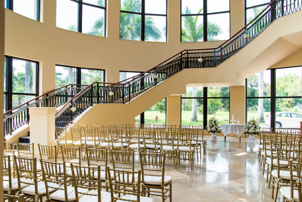 Stunning White in White Wedding Ceremony | The Majestic Vision Wedding Planning | The Borland Center in Palm Beach, FL | www.themajesticvision.com | Enduring Impressions Photography