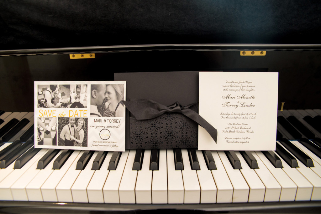 Stunning Black and White Wedding Invitations | The Majestic Vision Wedding Planning | The Borland Center in Palm Beach, FL | www.themajesticvision.com | Enduring Impressions Photography
