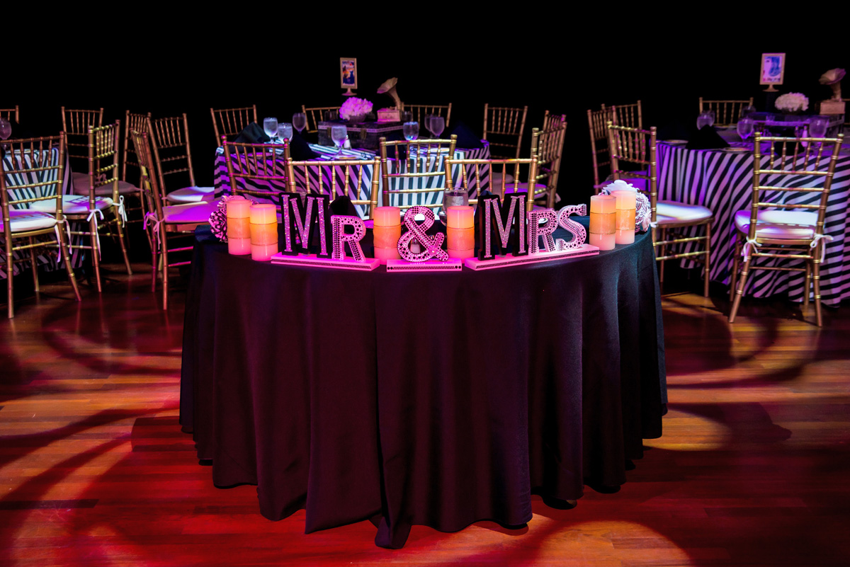 Elegant Broadway Theme Wedding Reception | The Majestic Vision Wedding Planning | The Borland Center in Palm Beach, FL | www.themajesticvision.com | Enduring Impressions Photography