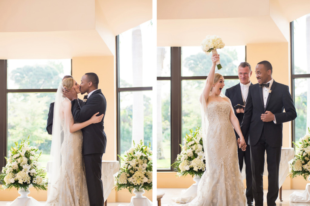 Elegant Interracial Couple Celebrating Marriage | The Majestic Vision Wedding Planning | The Borland Center in Palm Beach, FL | www.themajesticvision.com | Enduring Impressions Photography
