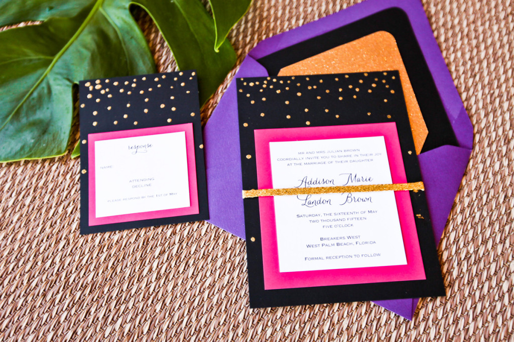 Kate Spade Inspired Modern Pink and Black Invitation Suite | The Majestic Vision Wedding Planning | Breakers West in Palm Beach, FL | www.themajesticvision.com | Krystal Zaskey Photography
