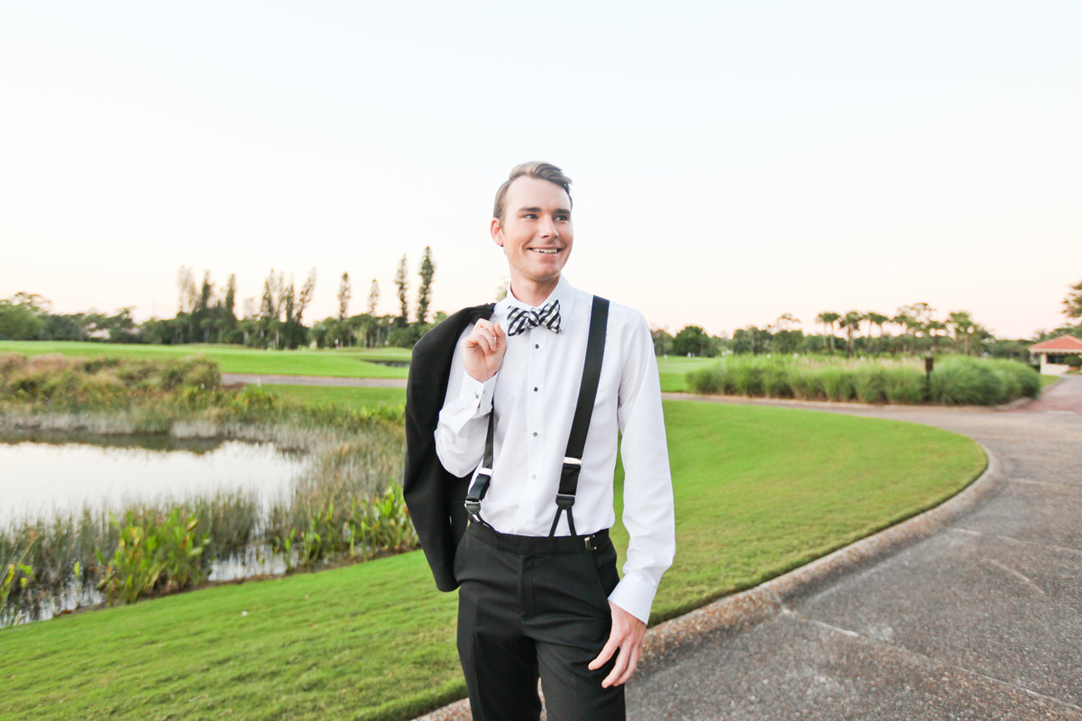 Handsome Groom Portrait on Golf Course | The Majestic Vision Wedding Planning | Breakers West in Palm Beach, FL | www.themajesticvision.com | Krystal Zaskey Photography