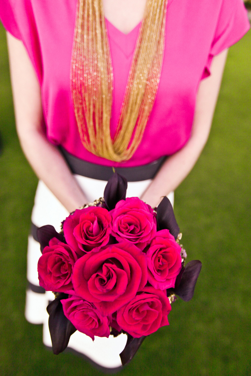 Modern Bridesmaid with Red Rose Bouquet Wearing Kate Spade Ensemble | The Majestic Vision Wedding Planning | Breakers West in Palm Beach, FL | www.themajesticvision.com | Krystal Zaskey Photography