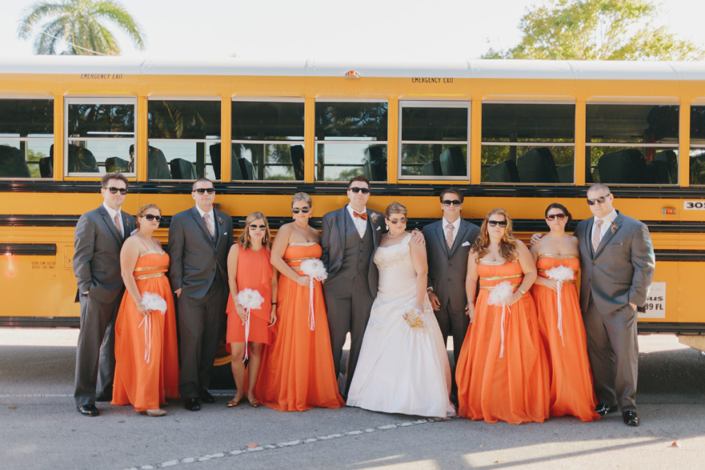Unique Bridal Party Portrait with School Bus | The Majestic Vision Wedding Planning | Palm Beach Zoo in Palm Beach, FL | www.themajesticvision.com | Robert Madrid Photography