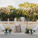 Heart Shaped Ceremony Arch Covered in Orange, Yellow and White Roses at Palm Beach Zoo in Palm Beach, FL thumbnail
