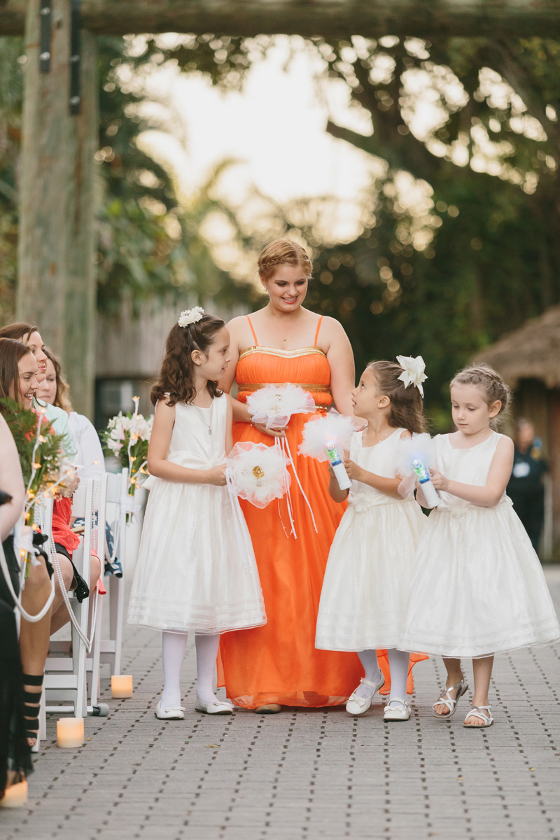 Adorable Flower Girls with Bubble Guns | The Majestic Vision Wedding Planning | Palm Beach Zoo in Palm Beach, FL | www.themajesticvision.com | Robert Madrid Photography