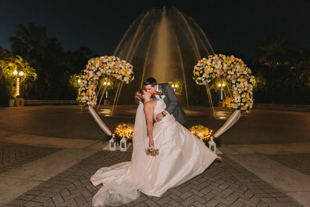Romantic Heart Shaped Ceremony Arch Covered in Orange, Yellow and White Roses | The Majestic Vision Wedding Planning | Palm Beach Zoo in Palm Beach, FL | www.themajesticvision.com | Robert Madrid Photography