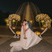 Romantic Heart Shaped Ceremony Arch Covered in Orange, Yellow and White Roses at Palm Beach Zoo in Palm Beach, FL thumbnail