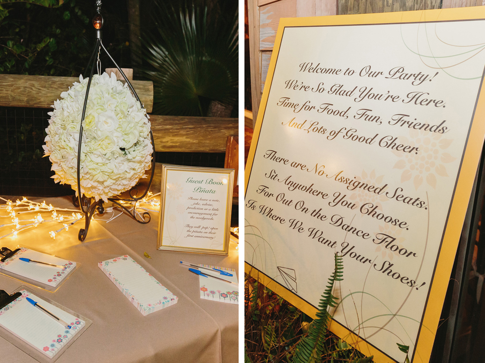 palm beach zoo wedding the majestic vision Zoo Wedding Guest Book unique pinata guestbook and elegant open seating reception sign the majestic vision wedding planning Unique Wedding Guest Books