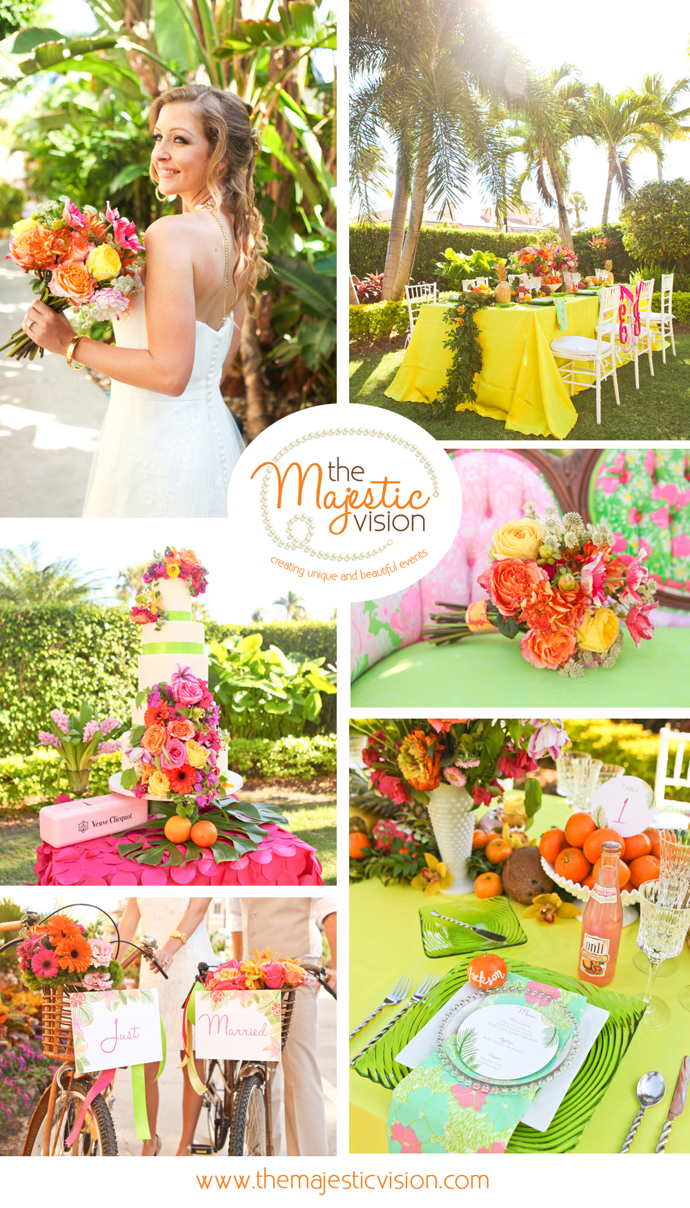 Elegant Lilly Pulitzer Inspired Wedding Tablescape with Orange, Yellow and Pink Flowers | The Majestic Vision Wedding Planning | The Colony Hotel in Palm Beach, FL | www.themajesticvision.com | Krystal Zaskey Photography