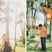 Travel Theme Engagement Session with State Cutouts at Royal Poinciana Chapel in Palm Beach, FL thumbnail