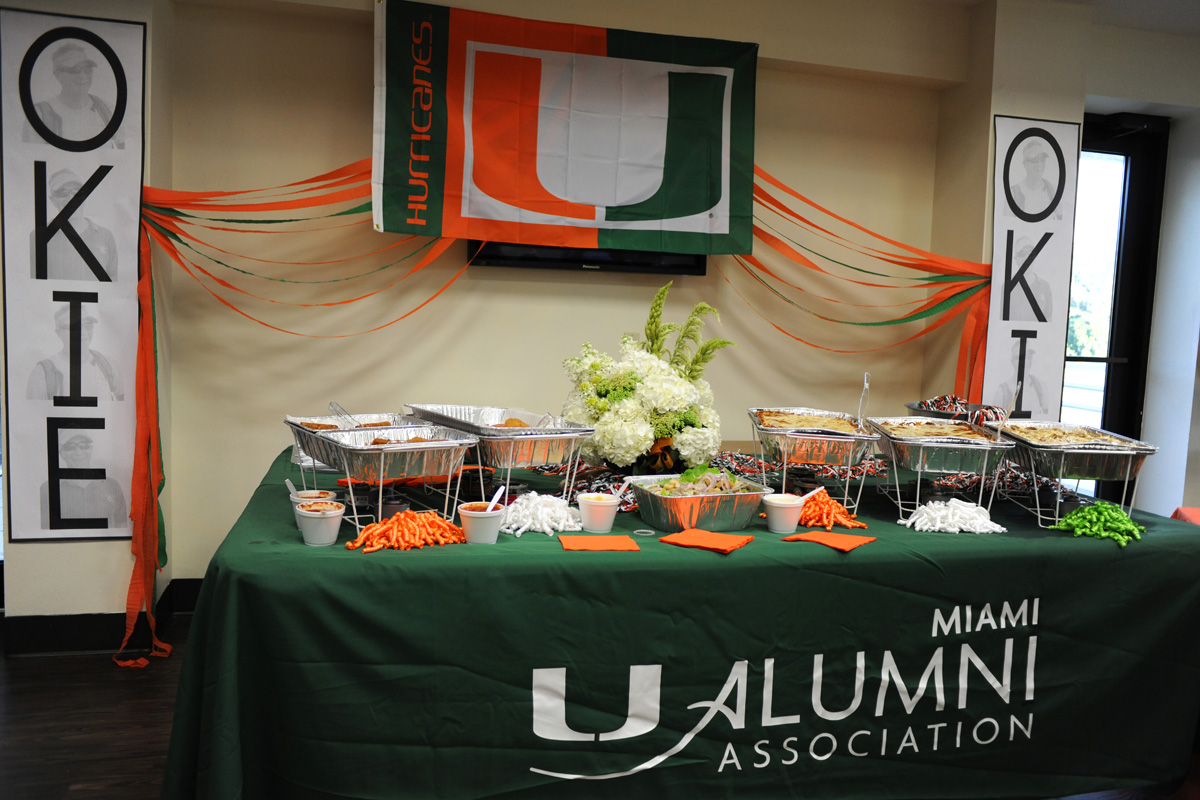 Orange and Green Buffet Display | The Majestic Vision Wedding Planning | University of Miami in Coral Gables, FL | www.themajesticvision.com | Emily Allongo Photography