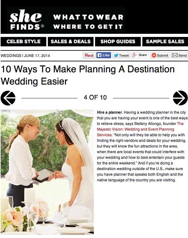 10 Ways to Make Planning a Destination Wedding Easier on SheFinds | The Majestic Vision Wedding Planning | Palm Beach, FL and Milwaukee, WI | www.themajesticvision.com