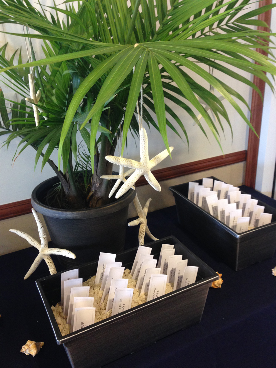 Starfish and Palm Tree Escort Card Display | The Majestic Vision Wedding Planning | Boynton Beach Intracoastal Clubhouse in Palm Beach, FL | www.themajesticvision.com