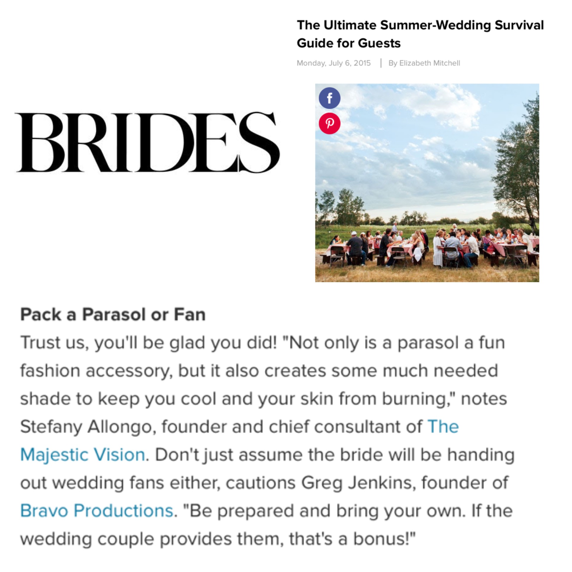 Ultimate Summer Wedding Survival Guide on Brides.com | The Majestic Vision Wedding Planning | Palm Beach, FL and Milwaukee, WI | www.themajesticvision.com