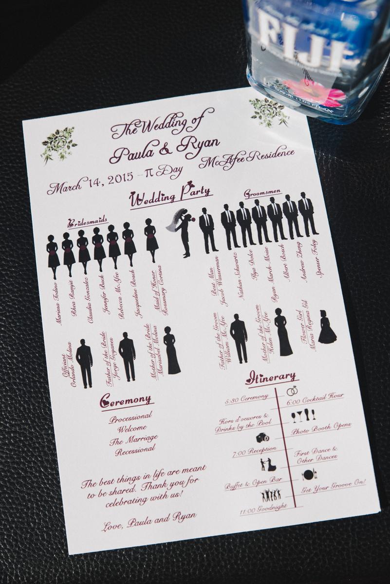 Elegant Backyard Wedding Ceremony Program   The Majestic Vision Wedding Planning   Palm Beach, FL   www.themajesticvision.com   Robert Madrid Photography