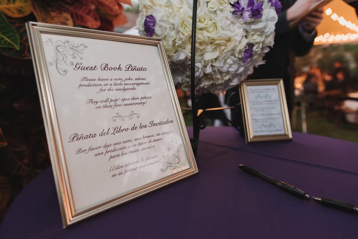 Elegant Bilingual Guest Book Pinata   The Majestic Vision Wedding Planning   Palm Beach, FL   www.themajesticvision.com   Robert Madrid Photography