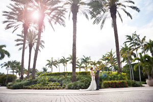 Elegant Palm Tree Filled First Look | The Majestic Vision Wedding Planning | Grand Bay Club in Key Biscayne, FL | www.themajesticvision.com | Emindee Images