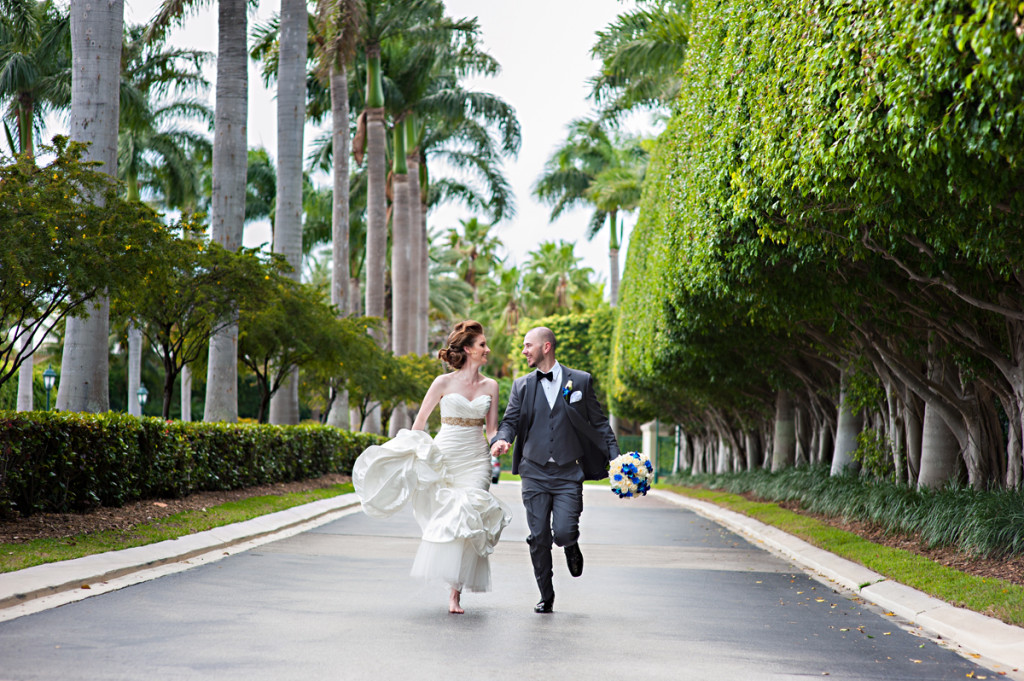 Elegant Running Couple Portrait | The Majestic Vision Wedding Planning | Grand Bay Club in Key Biscayne, FL | www.themajesticvision.com | Emindee Images