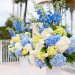 Elegant Blue and White Hydrangea Wedding Ceremony Decor at Grand Bay Club in Key Biscayne, FL thumbnail
