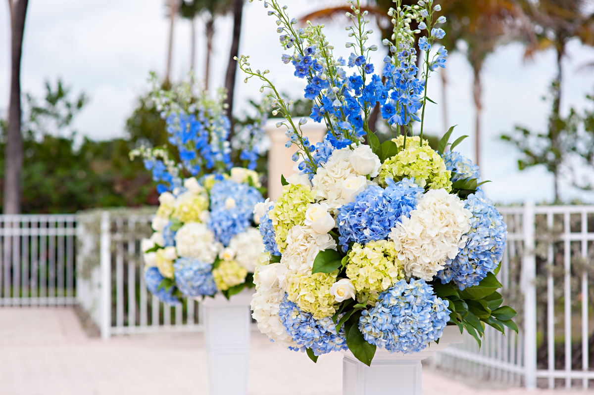 Elegant Blue and White Hydrangea Wedding Ceremony Decor | The Majestic Vision Wedding Planning | Grand Bay Club in Key Biscayne, FL | www.themajesticvision.com | Emindee Images