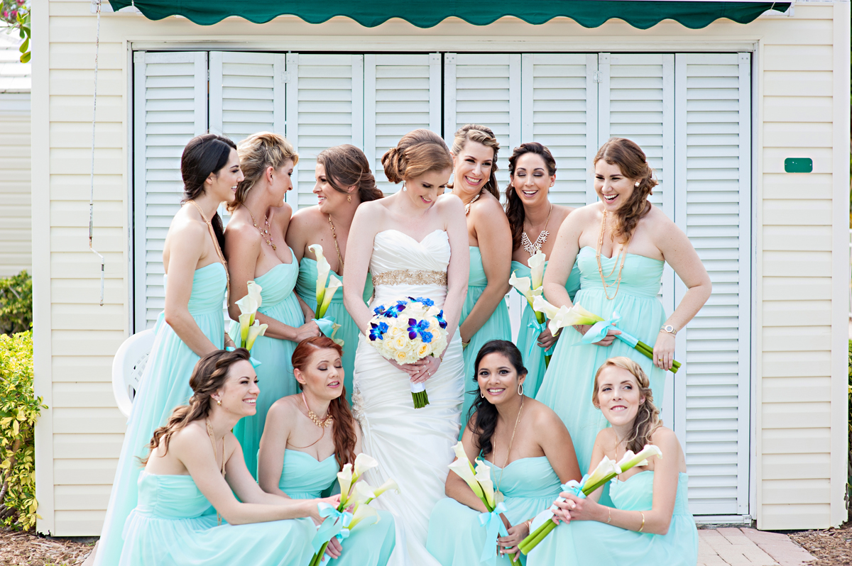 Elegant Bridesmaids with Beautiful Bride | The Majestic Vision Wedding Planning | Grand Bay Club in Key Biscayne, FL | www.themajesticvision.com | Emindee Images