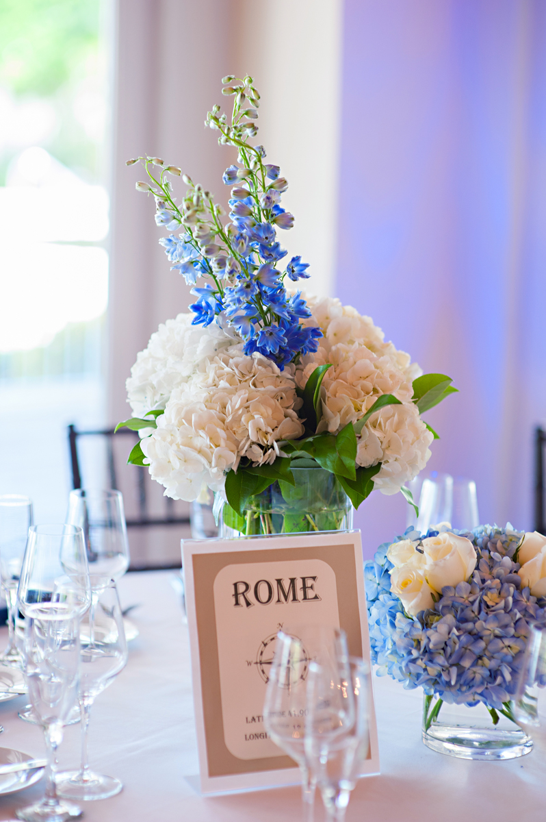 Elegant Blue Orchid and White Hydrangea Wedding Reception | The Majestic Vision Wedding Planning | Grand Bay Club in Key Biscayne, FL | www.themajesticvision.com | Emindee Images