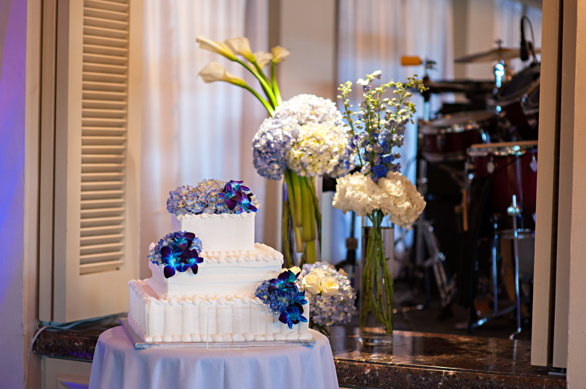 Elegant Blue Orchid and Hydrangea Wedding Cake | The Majestic Vision Wedding Planning | Grand Bay Club in Key Biscayne, FL | www.themajesticvision.com | Emindee Images