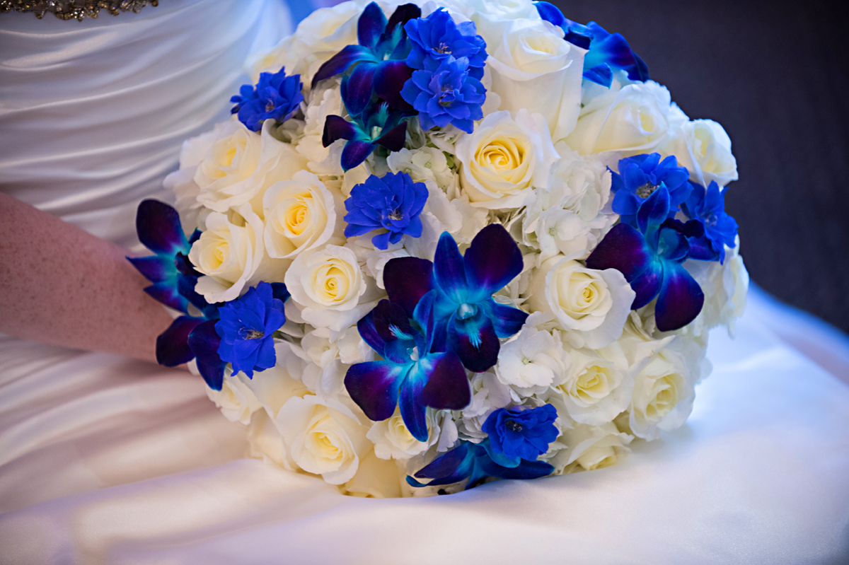 Elegant Blue Orchid and White Rose Bridal Bouquet | The Majestic Vision Wedding Planning | Grand Bay Club in Key Biscayne, FL | www.themajesticvision.com | Emindee Images