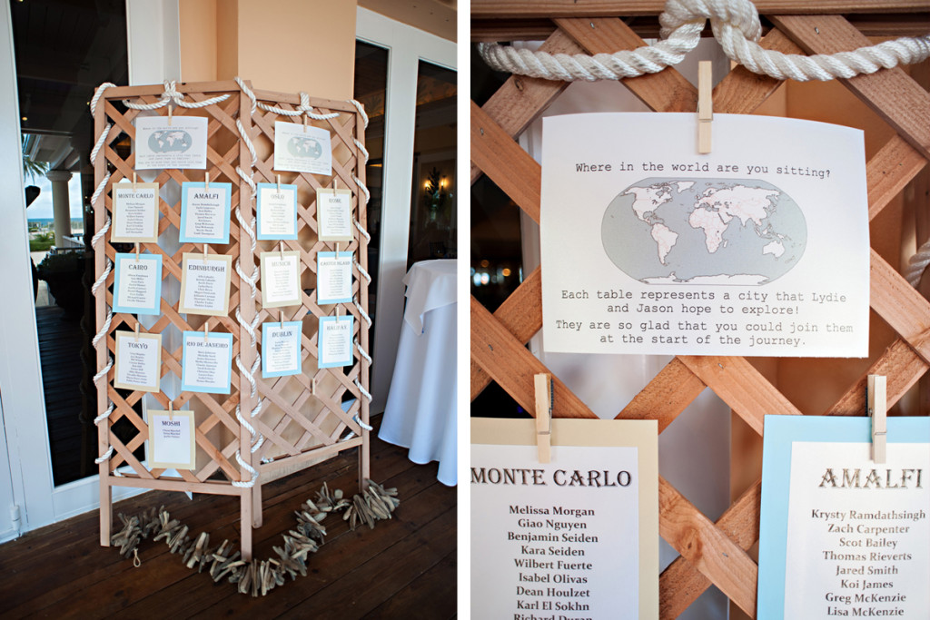 Whimsical Travel Escort Card Display | The Majestic Vision Wedding Planning | Grand Bay Club in Key Biscayne, FL | www.themajesticvision.com | Emindee Images